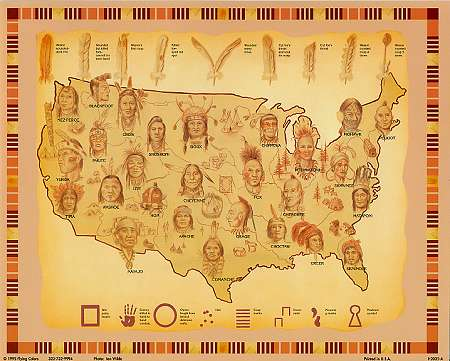 Map Of Nations Art Print X - Indian nation map us