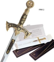 Miniature Damascene Templar Knight Sword Letter Opener by Marto of Toledo Spain